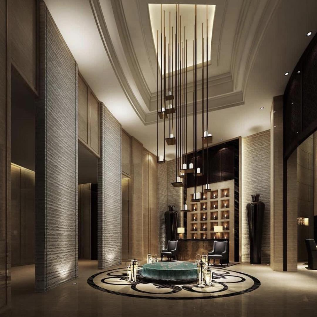 Outstanding lighting modern ideas to decor hotel lobby for Hotel entrance decor